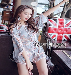 Lady Ribbon Cut-Out Flower Printed Paste Playsuit