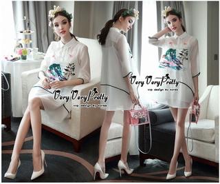 VP05310816 Luxurious White Silk Embroidered Shirt Dress เดรสเชิตงานปักสไตล์วินเทจสวยมาก