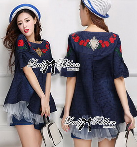 Lady Ribbon Denim Long Top