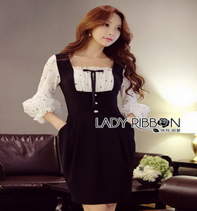 Lady Ribbon Black & White Polkadot Dress