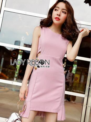 Chic Side-Button Body Lady Ribbon Dress