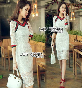 Lady Ribbon Lady Paula Gucci Style White Lace Dress