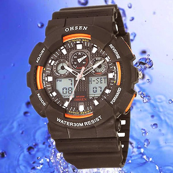 OHSEN – AD1012-5: World-Time Dual System Alarm / Chronograph Sports Watch