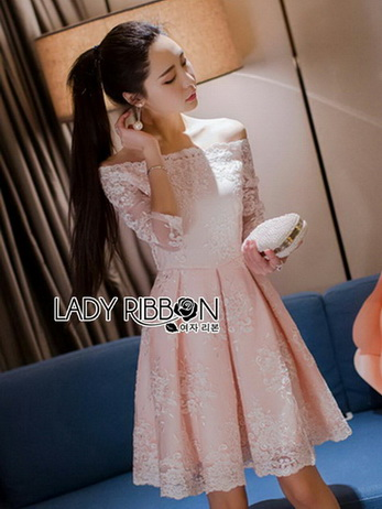 Lady Pink and White Lace Dress