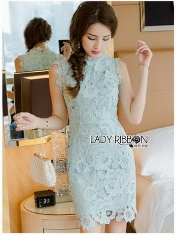 Chic Minty Lady Ribbon Lace Dress