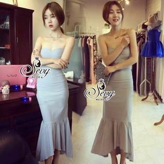 Lady Ribbon Online ขายส่งเสื้อผ้าออนไลน์ เสื้อผ้า Sevy SV08030816 &#x1F389Sevy Strapless Mermaid Tail Midi Dress