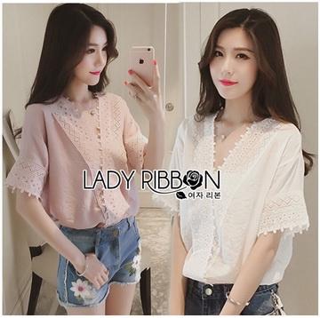 Lady Ribbon Online ขายส่งเสื้อผ้าออนไลน์ ขายส่งของแท้พร้อมส่ง LR01250716 &#x1F380 Lady Ribbon's Made &#x1F380 Lady Sophie Sweet Feminine Laser-Cut and Embroidered To