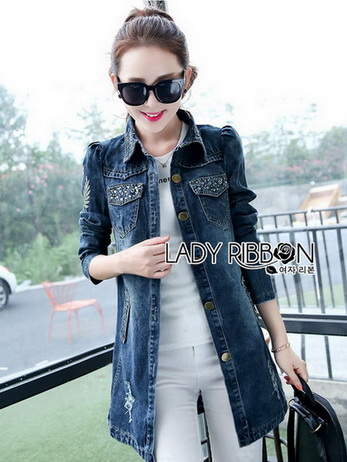 Crystal Studded Lady Denim Shirt Dress