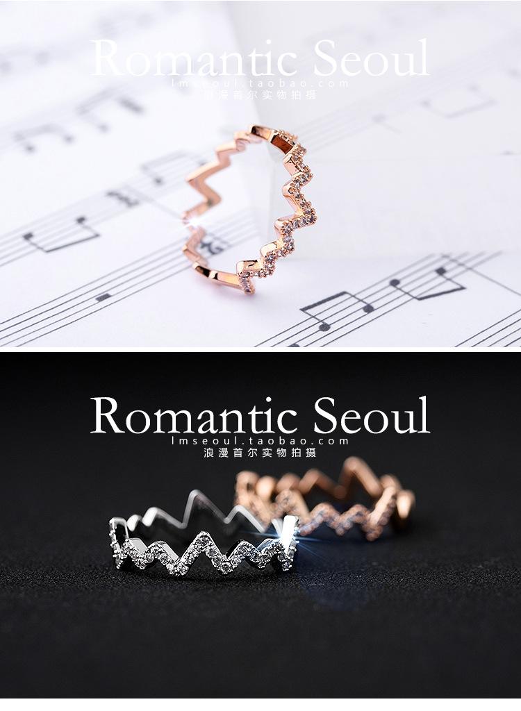 AK1835 - แหวนเพชร,แหวนเงิน,แหวน,แหวนคู่รัก,เครื่องประดับ Memorial electrocardiogram wave Micro Pave female index finger ring