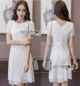 Lady Ribbon Lace Dress เดรสแขนสั้นผ้าลูกไม้สีขาว