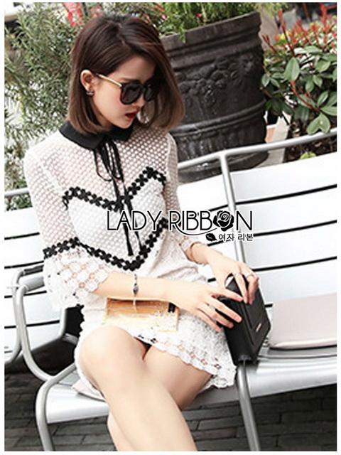 Lady Ribbon Mini Dress เดรสผ้าลูกไม้สีขาว-ดำ