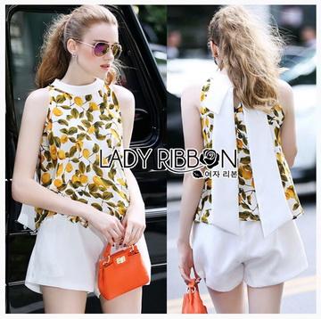 Lady Ribbon ขายส่งเสื้อผ้าออนไลน์พร้อมส่งของแท้ LR10220716 &#x1F380 Lady Ribbon's Made &#x1F380 Lady Michelle peach Printed Sleeveless Top and White Shorts Set