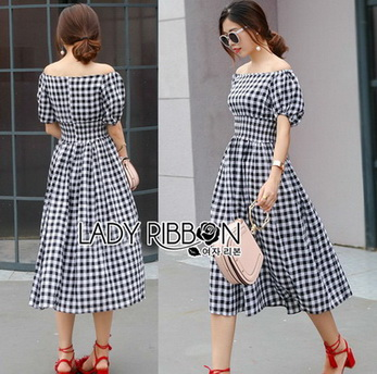 Lady Eva Country Style Check Cotton Dress