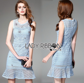 Lady Ribbon Online ขายส่งเสื้อผ้าออนไลน์เลดี้ริบบอน LR09010816 &#x1F380 Lady Ribbon's Made &#x1F380 Lady Nara Feminine Elegant Crystal Embroidered Lace Dress