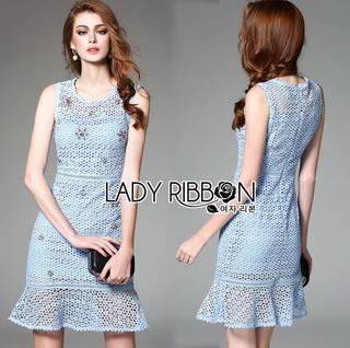 Lady Ribbon Online ขายส่งเสื้อผ้าออนไลน์เลดี้ริบบอน LR09010816 &#x1F380 Lady Ribbon's Made &#x1F380 Lady Nara Feminine Elegant Crystal Embroidered Lace Dress