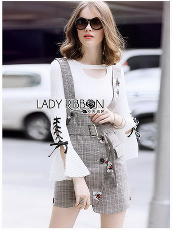 Lady Suit Dress Over White Blouse