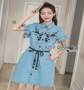 Lady Ribbon Chic Black Flower Denim Shirt Dress