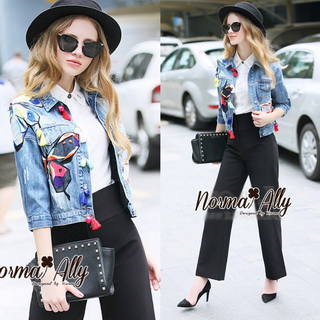 Lady Ribbon Online เสื้อผ้าออนไลน์ขายส่ง Normal Ally เสื้อผ้า NA03150816 &#x1F389Normal Ally Present. Denim Butterfly and Japanese silk loop flower decorate Jacket&#x1F389