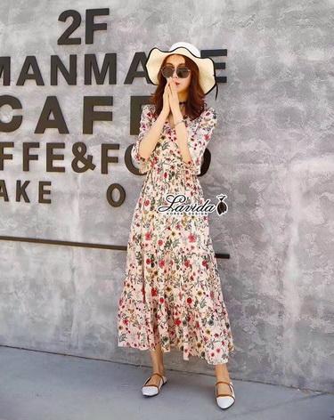 Maxi Dress กระโปงยาวแขนศอกระบาย