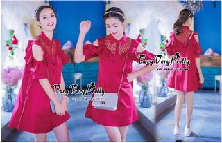 VP04310816 Red Layer Off-Shoulder Short Sleeves MiNi Dress มินิเดรสทรงเชิตสีแดงสวย