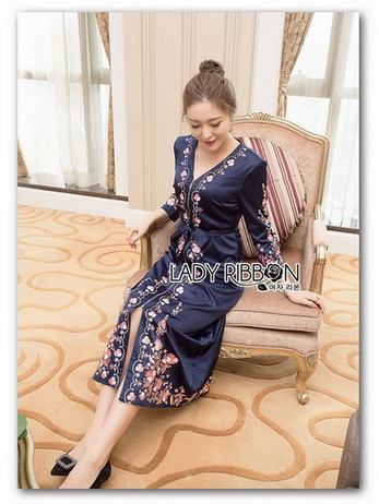🎀 Lady Ribbon's Made 🎀 Lady Claire Modern Hippie Flower Embroidered Navy Crepe Long Dress