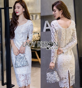 White Lace Evening Dress Lady Ribbon