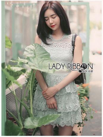 Grey Lace Dress Lady Ribbon ขายเดรส