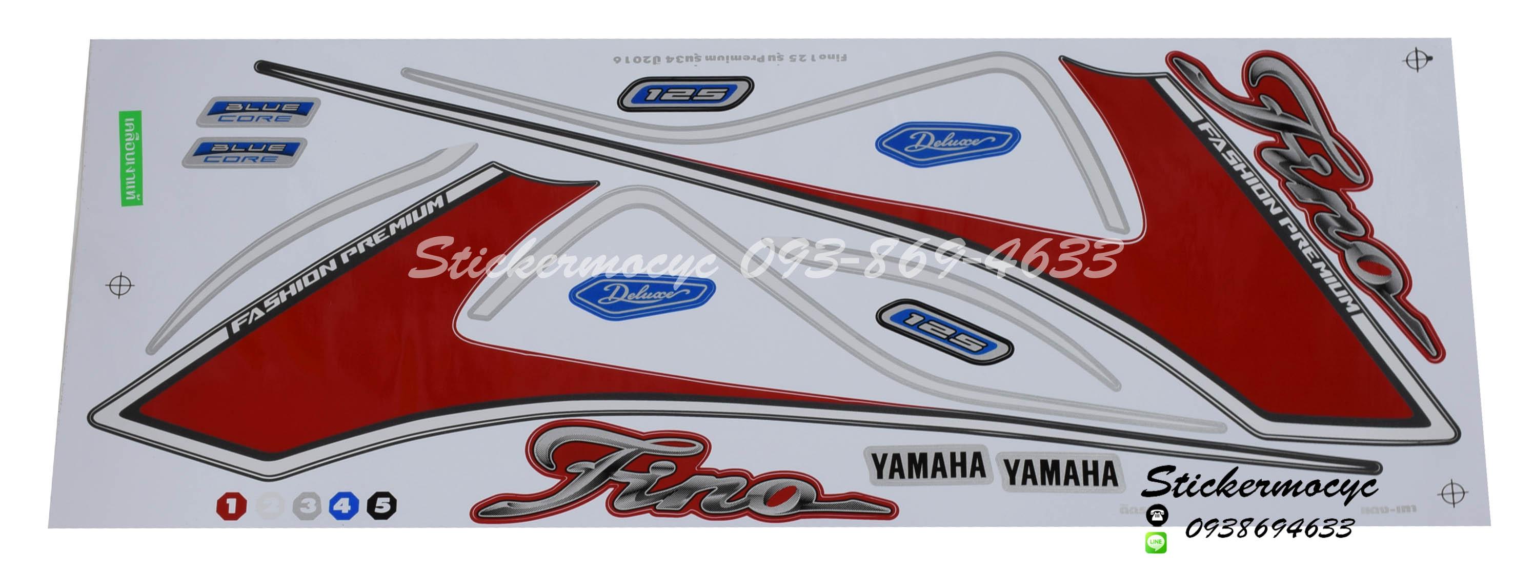 สติ๊กเกอร์ติดรถ มอเตอร์ไซค์ ยามาฮ่า ฟีโน่ Sticker Yamaha Fino 125 ปี 2016 รุ่น 34 ติดรถ สีแดง เทา (เคลือบเงาแท้)