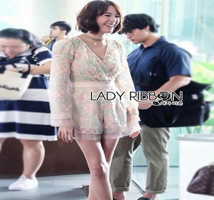 Lady Ribbon Playsuit with Pleated Tulle