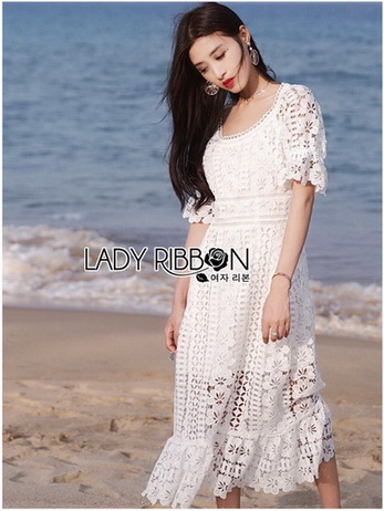 Lady Selena Sweet Feminine Ruffle White Lace Dress