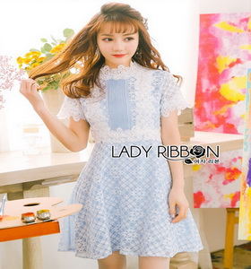 Lace Over Blue Crepe Mini Dress Lady Ribbon มินิเดรส