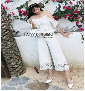 White Cotton and Lace Lady Ribbon Culottes กางเกงผ้าคอตตอน