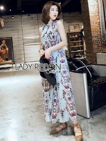 Chiffon Sleeveless Lady Ribbon Maxi Dress