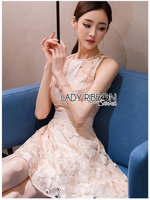 Lady Ribbon Mini Dress มินิเดรสผ้าลูกไม้สีครีมอ่อน