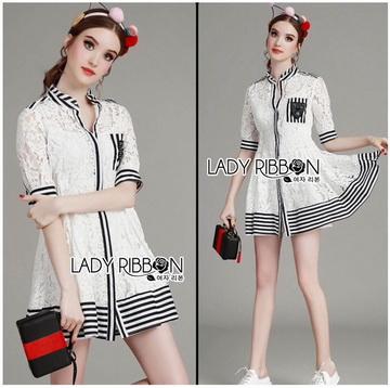 Lady Ribbon Online ขายส่งเสื้อผ้าออนไลน์ เลดี้ริบบอน LR05280716 &#x1F380 Lady Ribbon's Made &#x1F380 Lady Alessandra Sweet Minimal Striped Embellished Cotton Lace Shirt Dress เชิ้ต