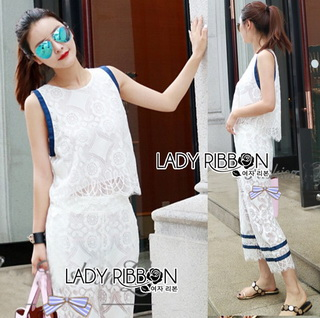 LR16290816 &#x1F380 Lady Ribbon's Made &#x1F380 Lady Adriana Casual Feminine Lace Cropped Top and Pants