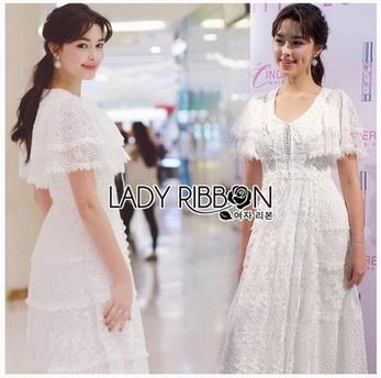 Lady Ashley Pure Royal Lace-Down White Lace Dress