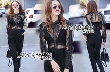 Lady Ribbon Lace Hall Jumpsuit