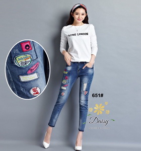 กางเกงยีนส์แฟชั่นทรงเดฟผ้ายีนส์เกาหลีฮ่องกง
