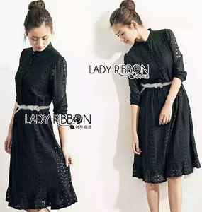 Lady Ribbon Lace Shirt Dress with Belt