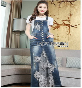 Lady Ribbon Tanya White T-Shirt Denim and Lace Overall Dress เอี้ยมยีนส์เสื้อยืด