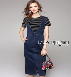 Lady Ribbon Vanessa Casual Chic Striped Top and Overall Denim Dress Set