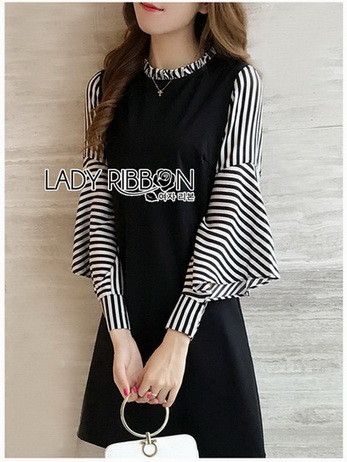 Plain Lady Ribbon Black Dress