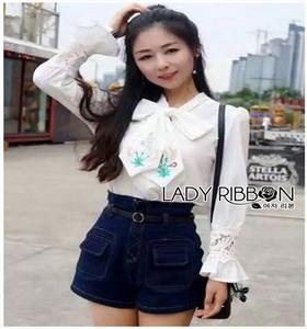 Crepe and Lace Top Lady Ribbon เสื้อผ้าเครป