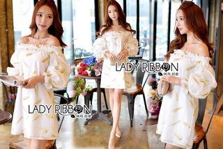 Gold Feather Embroidered Organza Dress เดรสผ้าแก้ว