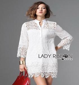 Lady Ribbon Lady Jane Classic Feminine Combined Lace Shirt Dress
