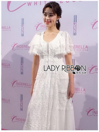 Lady Ashley Pure Royal Lace-Down White Lace Dress