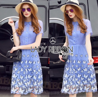 Lady Ribbon Online ขายส่งเสื้อผ้าออนไลน์เลดี้ริบบอน LR02010816 &#x1F380 Lady Ribbon's Made &#x1F380 Lady Amanda Sweet Feminine Butterfly Embroidered Polyester Dress