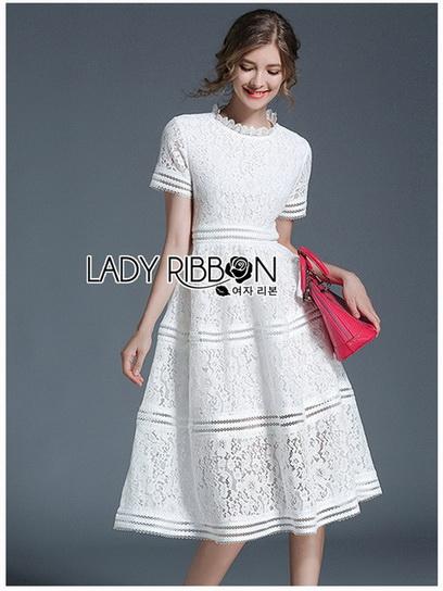 White Lace Dress Lady Ribbon เดรสสีขาวตัดต่อเลเยอร์