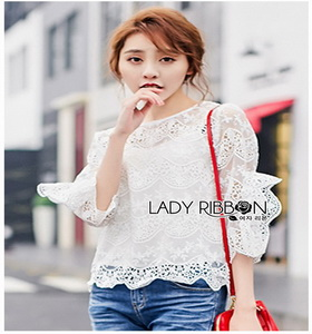 White Scallop Lace Blouse Lady Ribbon